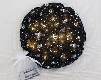 "Galaxy Moon Beam Pillow, (12"") LED lights and remote control, glow pillow"