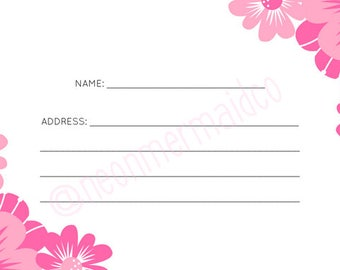 Bridal Shower Address Cards