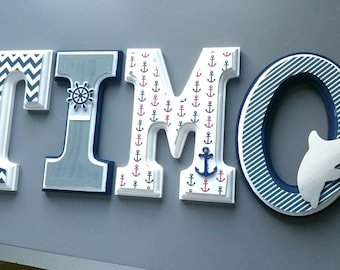 Wooden wall letters decorated theme letters nautical/marine/turquoise/blue/white/nautical/wooden / decor/nursery wall.