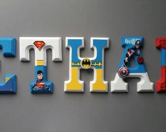 wall letters avengers superhero wall decor room for children wood