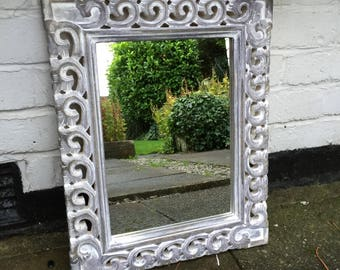Lovely Hand Carved Shabby Chic Mirror, Ornare Wooden Mirror.