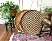 Vintage Large Flat Wall Basket  • Woven Bamboo Basket • Bohemian Decor