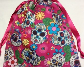 Drawstring project bag - Sugar skulls