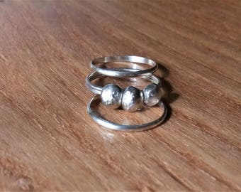 Pebble Stacking Ring Set (3) - Sterling Silver