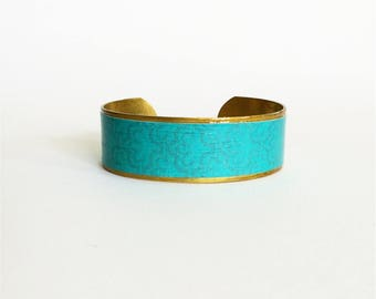 "Ethnic bracelet ""The secret of the blue"" - medium - protected paper - brass"
