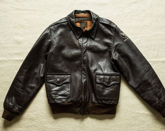 Buzz Ricksons WW2 USAAF A-2 Leather Flight Jacket Bomber Air Force Brown Eastman Nigel Cabourn real mccoy rrl lvc deck army biker filson