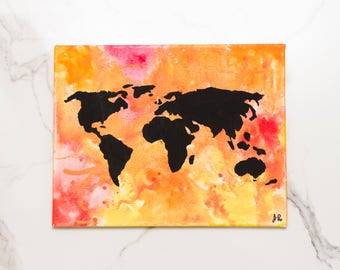 Watercolor World Map Painting