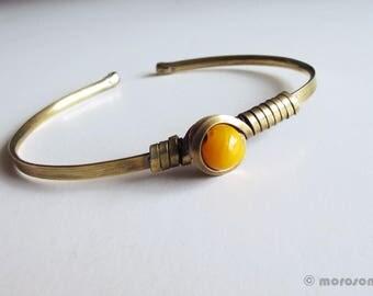 Ethnic bracelet - antique brass - Yellow Sun-