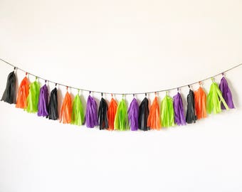 Halloween Tassel Garland | Tassel Banner | Halloween Party Decor | Halloween Decorations | Halloween Party | Halloween colors | Black and Or