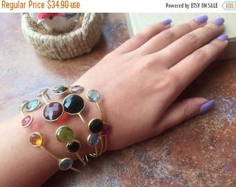 CHRISTMAS IN JULY Sale21% Multi Color Glass Cuff Bracelet/Crystal Bracelet/Adjustable Statement Bracelet/Gold Cuff Bracelet