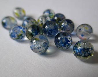 10 blue and yellow 6mm Crackle glass beads