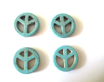 4 beads peace and love 20mm turquoise howlite