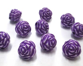 10 purple flower beads 13mm acrylic