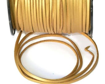Gold aspect suede 3 mm leather cord 3 m