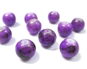 10 purple drawbench black glass beads 8mm (N-24)