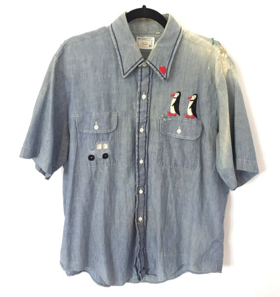 60s Distressed Hand-Embroidered Denim Shirt- Vintage Big Mac