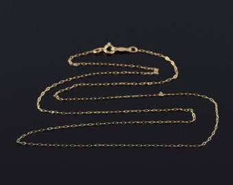 0.6mm Cable Link Fancy Chain Necklace Gold