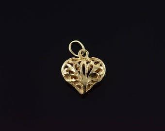 14k Filigree Puffy Hollow Heart Charm/Pendant Gold