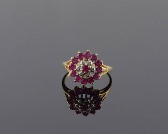 14k 0.78 CTW Ruby Diamond Halo Ring Gold