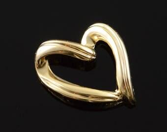 14k Free Form Heart Outline Charm/Pendant Gold