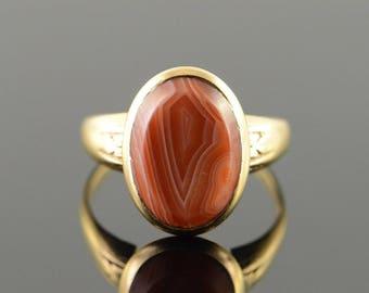 10k 15x10mm Red Agate Bezel Set Ring Gold