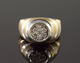 14k 0.40 CTW Diamond Men's Bling Ring Gold