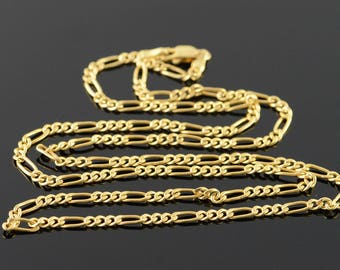 """14k 2.6mm Figaro Link Chain Necklace Gold 19.9"""""""