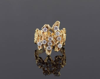 1.20 Ctw Cubic Zirconia Brutalist Nugget Ring Size 8.25 Gold