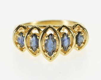 14k Sapphire Marquise Graduated Tiered Look Band Ring Gold
