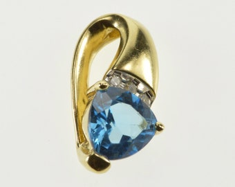 10K Trillion Blue Topaz Diamond Channel Accent Curved Pendant Yellow Gold