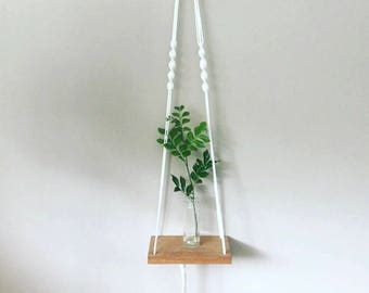 Macrame And Oak Shelf Hanger