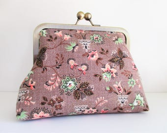 "Taupe Brown Coral and Mint Small Leaves Flowers Vintage Barkcloth Fabric 6"" Antique Brass Kisslock Frame Clutch Wristlet Crossbody Purse"