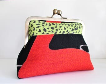 "Chartreuse Red Black Abstract Duck Pond Vintage Barkcloth Fabric 6"" Antique Brass Kisslock Frame Mini Clutch Wristlet Crossbody Shoulder Bag"