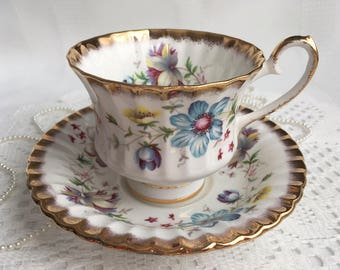 Grosvenor Fine Bone China Tea Cup and Saucer, Jackson & Gosling, Beautiful Hand Painted Colourful Floral with Heavy Gold Trim