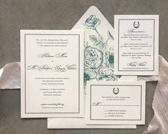 Sample Framed Simplicity wedding invitation with horseshoe details
