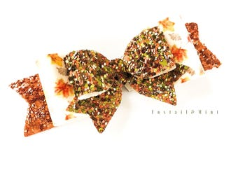 Autumn Leaves Hair Bow, Autumn Bow, Fall Bow, Thanksgiving Bow, Gold Hair Bow, Glitter Hair Bow, Fall Leaves Hair Bow