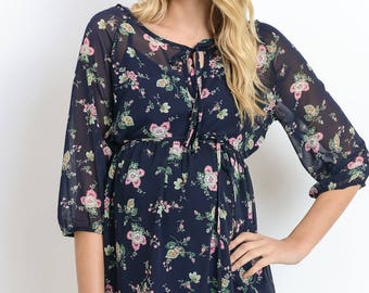 Floral Elbow Sleeve Maternity Top