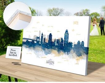 Chicago Skyline Alternative Wedding Guest Book Canvas Ready
