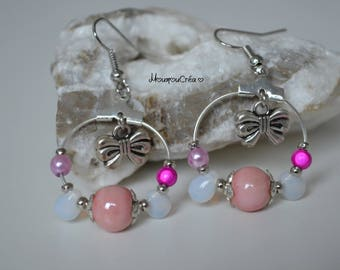 Creole earrings shade of pink,