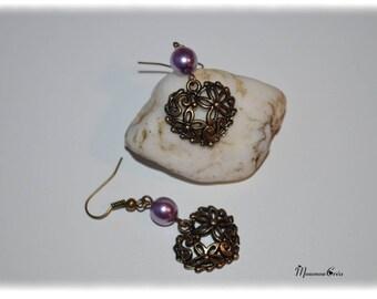 Earrings purple and bronze heart