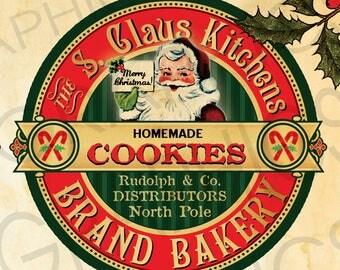 Vintage Christmas Cookies Label Christmas Printable Image Vintage Santa Collage Scrapbook Image Digital Download Cookies Clip Art