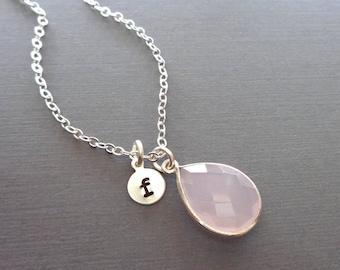 Rose Quartz Pear Bezel Necklace/Silver Initial Necklace Rose Quartz/Pink Stone Silver Initial/Genuine Rose Quartz Love Stone //BE29