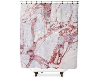 Pink and White marble shower curtain