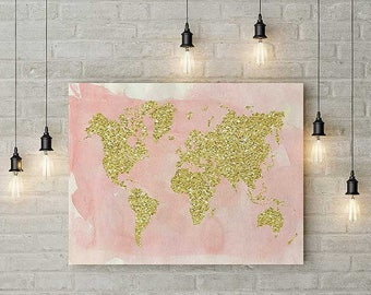 Large world map wall art, gold world map, pink world map, world map print, world map, pink and gold glitter, world map poster, home decor