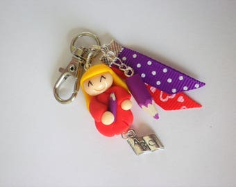 teacher aides character personnalisable3 gift bag charm keychain