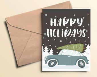 Happy Holidays Car & Tree Holiday Cards