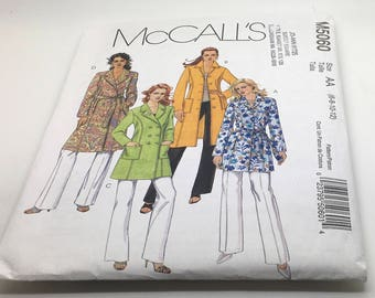 McCall's Sewing Pattern M5060 5060 Petite Lined Coat 2 Lengths Tie Belt Jacket Fitted Lined Single Double Breasted Princess Seams 6 8 10 12