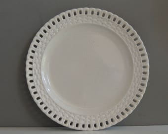 French antique openwork lace plate white ironstone stonewear 19th shabby chic decor