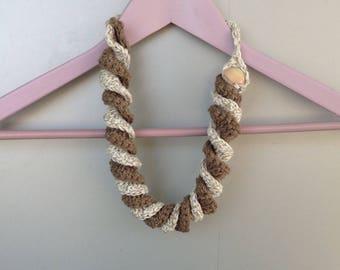 Crochet cotton necklace-tone Choker écru and torchon, coffee