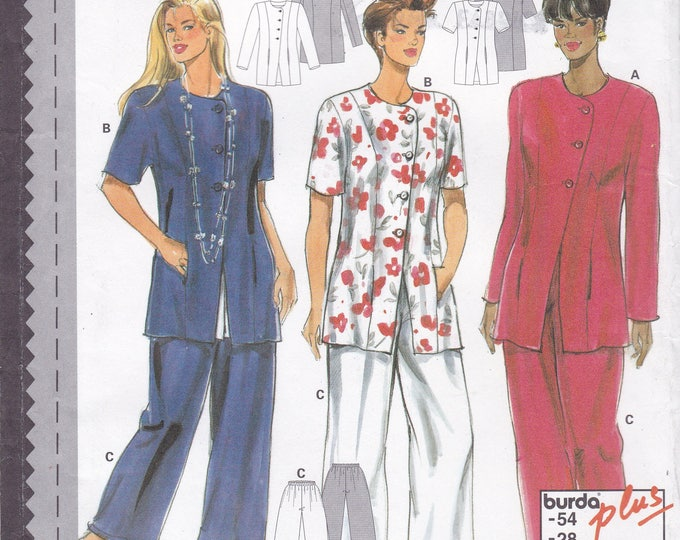 FREE US SHIP Burda 3740 Sewing Pattern Top Pants Elastic Waist Size 18 20 22  24 26 28 Bust 40 42 44 46 48 50  plus size Factory Folded